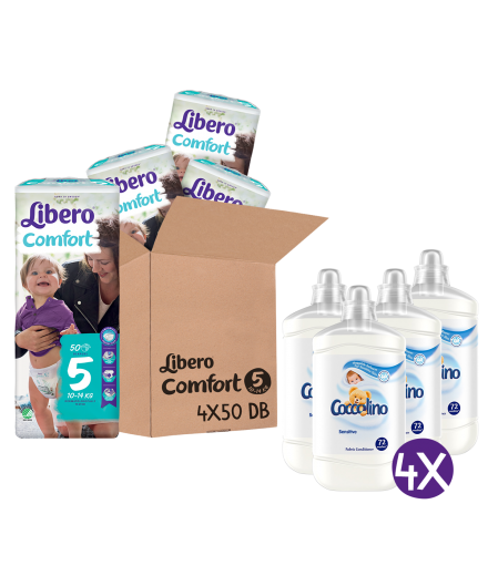 Libero Comfort Jumbo Pack pelenka és Coccolino Sensitive öblítőkoncentrátum