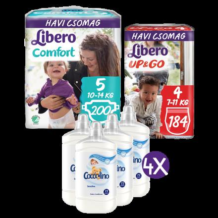 Libero Comfort és Up&Go Jumbo Pack pelenka Coccolino Sensitive öblítőkoncentrátummal