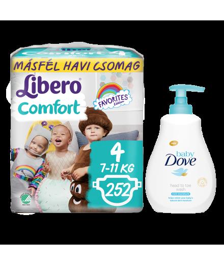 Libero Comfort másfél havi csomag pelenkák és Dove Baby fürdető